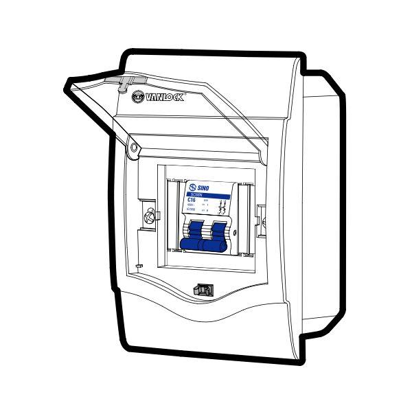 Tủ điện âm tường mặt nhựa V4FC2/4LA