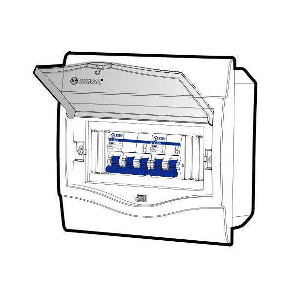 Tủ điện âm tường mặt nhựa V4FC5/8LA